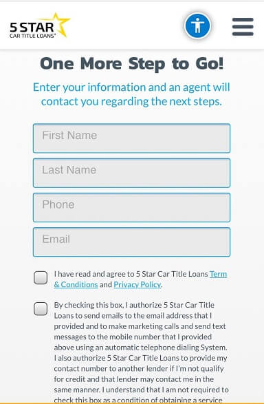 5 Star Car Title Loans - third step - apply online (1)