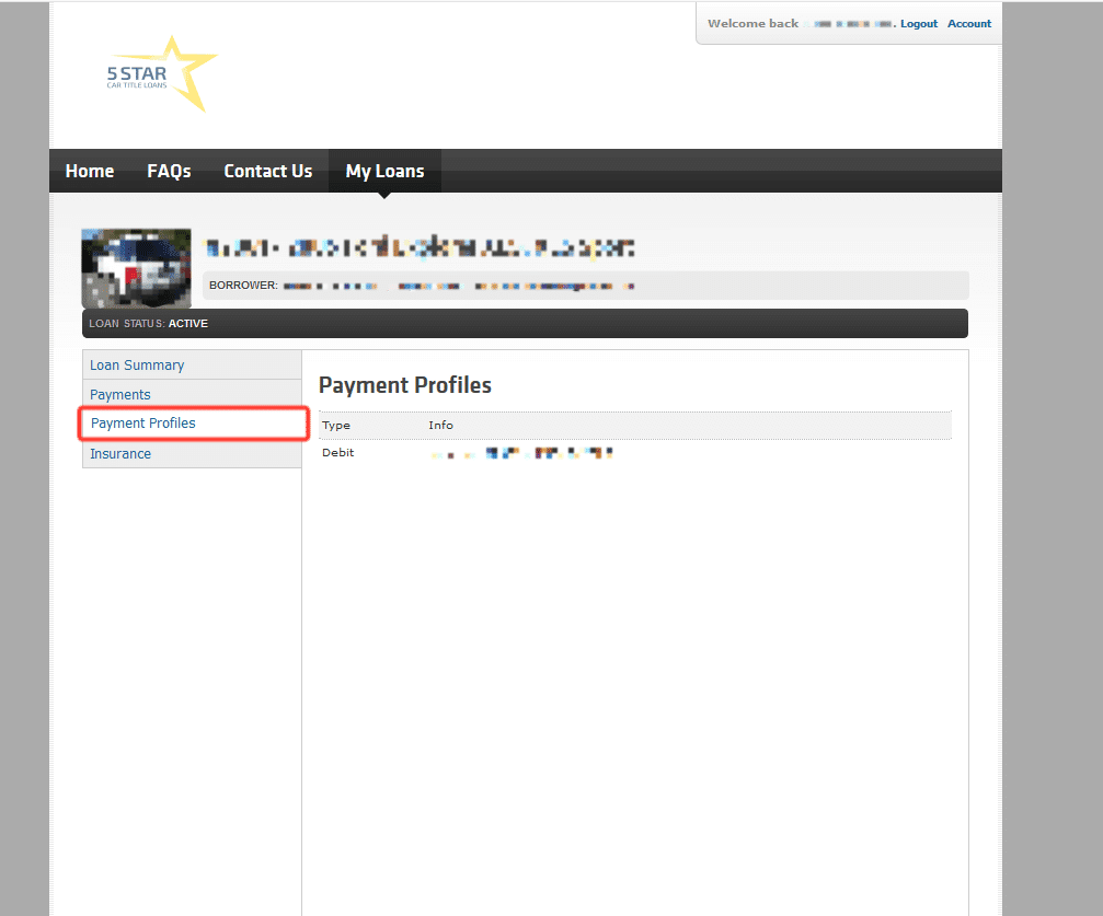 Payment profiles- 5 Star Online portal