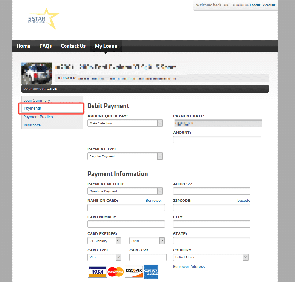 Payments - 5 Star Online portal