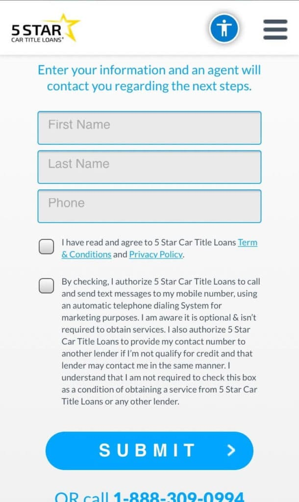 Online title loans second step
